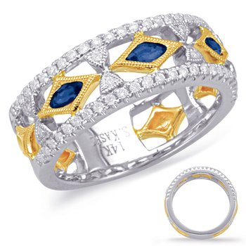 Yellow & White Sapphire & Diamond Ring