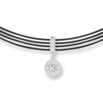 Black Cable Round Drop Choker Necklace with 18kt White Gold & Diamonds