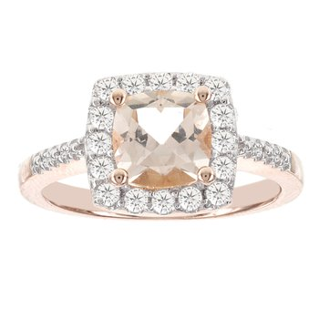 14kt Rose Gold 3/8ct Diamond 1 1/3ct Morganite Ring
