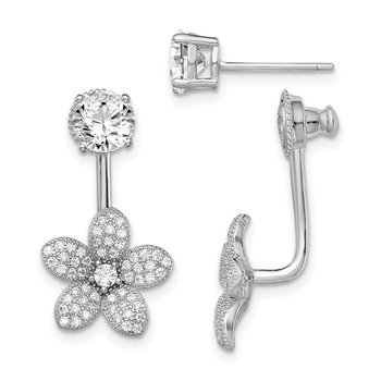 Sterling Silver Rhodium-plated CZ Studs w/CZ Flower Jacket Earrings