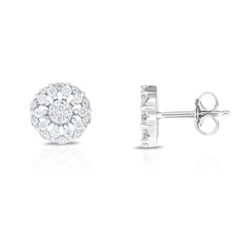 Silver CZ Mini Flower Earring
