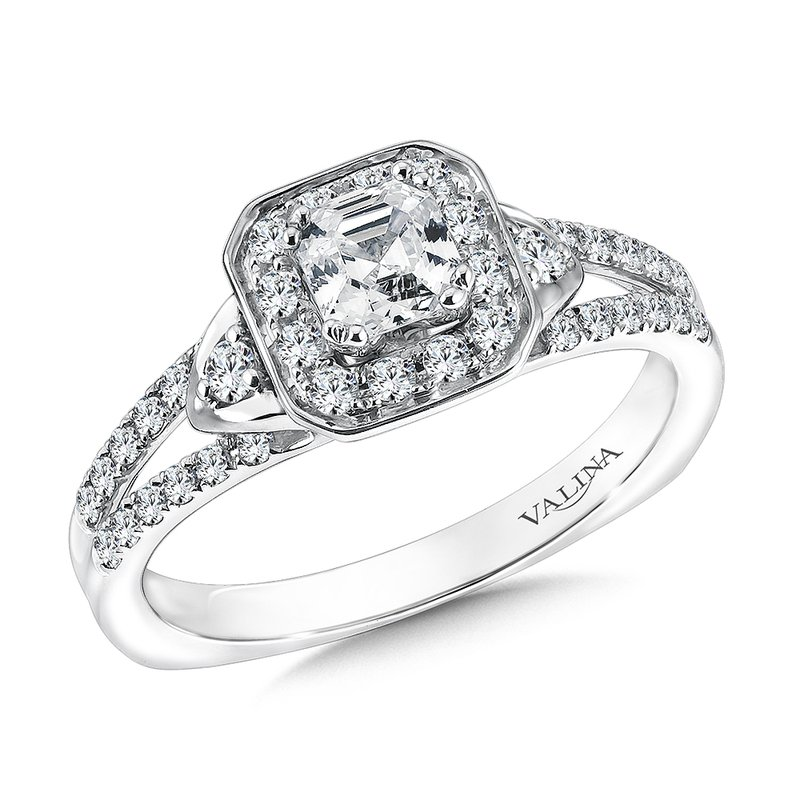 Valina Asscher cut shape halo mounting  .35 ct. tw.,  1/2 ct. Asscher cut center.