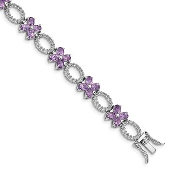 Sterling Silver Rhodium-plated Amethyst Flower & White Topaz Bracelet