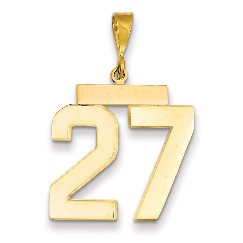 Quality Gold 14k Large Polished Number 27 Charm