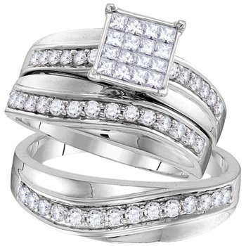 14kt White Gold His & Hers Princess Diamond Cluster Matching Bridal Wedding Ring Band Set 1-1/5 Cttw