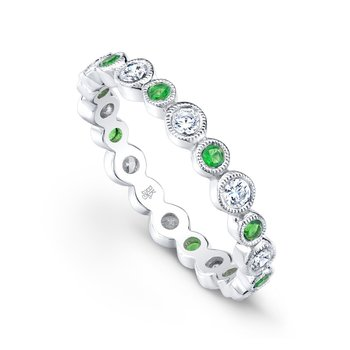 Bezel Diamond & Tsavorite Band