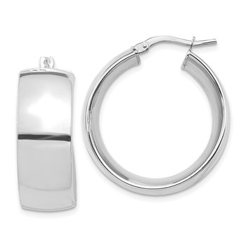 14k White Gold High Polished Small 10mm Hoop Earrings