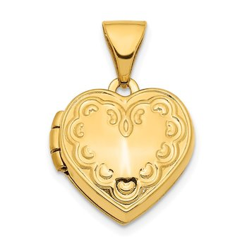 14K 13mm Textured Heart Locket Pendant