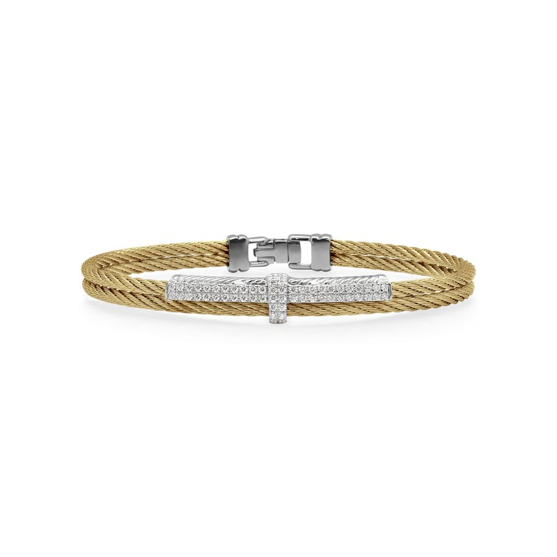 ALOR Yellow Cable Petite Opulence Bracelet with 18kt White Gold & Diamonds