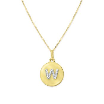 Diamond Uppercase Mini Disc Initial W Necklace