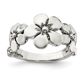 Sterling Silver Polished/Antiqued Flower Ring