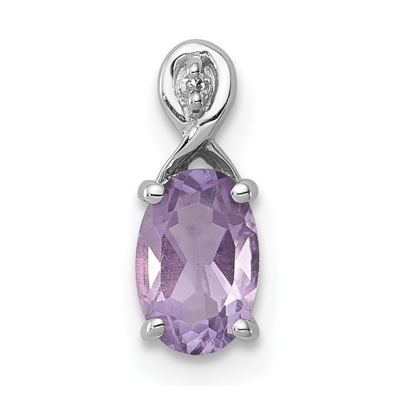 Quality Gold Sterling Silver Rhodium Plated Diamond & Amethyst Oval Pendant