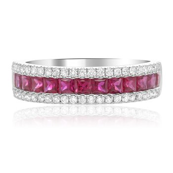 Three Row Ruby & Diamond Band