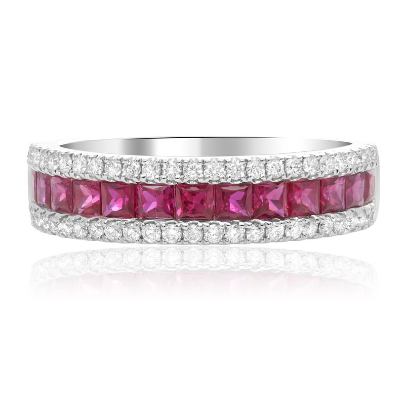 Roman & Jules Three Row Ruby & Diamond Band