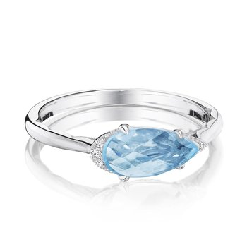 Solitaire Pear-Shaped Ring with Sky Blue Topaz