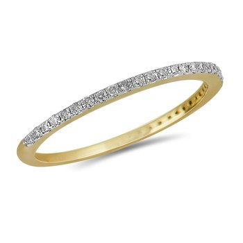 14K YG Diamond almost eternity Band in Prong Setting. 1/6 Cts.