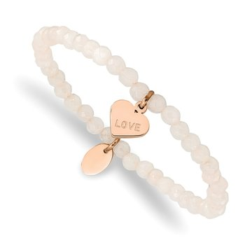 Stainless Steel Polished Rose IP-plated LOVE Heart Jade Stretch Bracelet