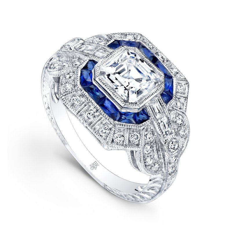 Vintage Style Halo Bridal Ring with Sapphires