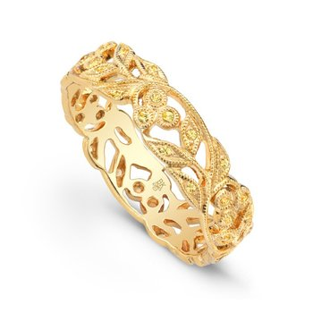 Yellow Sapphire Floral Band