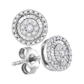 10kt White Gold Womens Round Diamond Framed Flower Cluster Screwback Earrings 1/3 Cttw