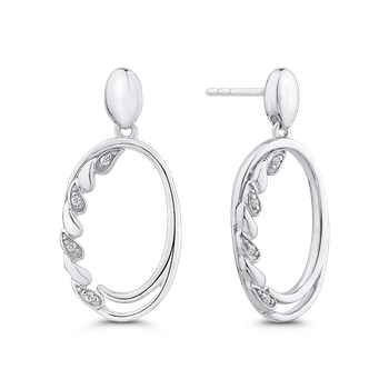 10K White Gold .04 ct White Diamond Fashion Earrings