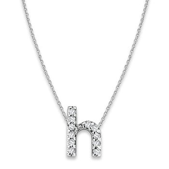 "Diamond Baby Typewriter Initial ""H"" Necklace in 14k White Gold with 11 Diamonds weighing .06ct tw."