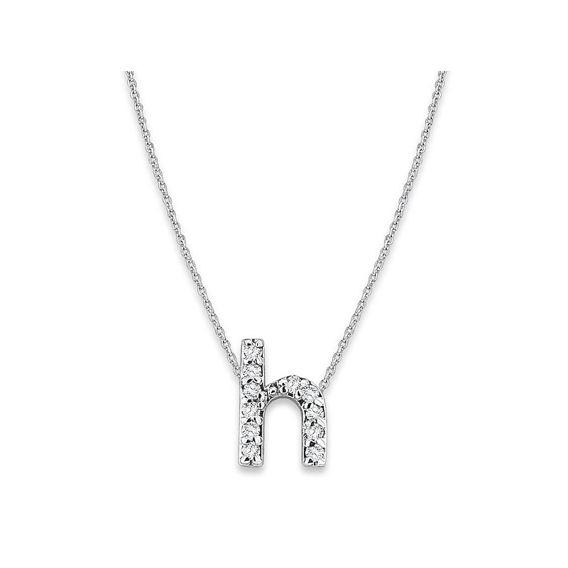 "KC Designs Diamond Baby Typewriter Initial ""H"" Necklace in 14k White Gold with 11 Diamonds weighing .06ct tw."