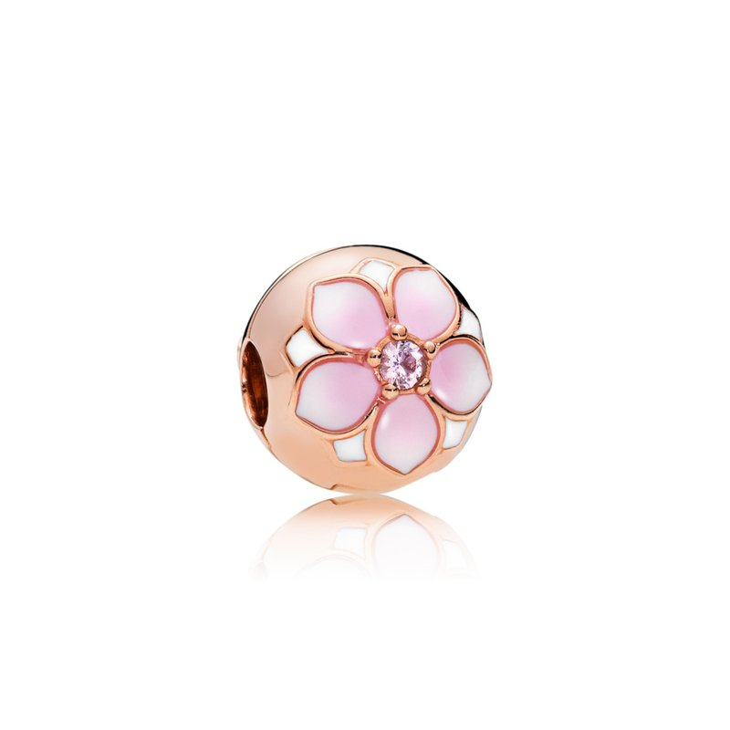 PANDORA Magnolia Bloom Clip, Pandora Rose™, Blush Pink Crystal Mixed Enamel