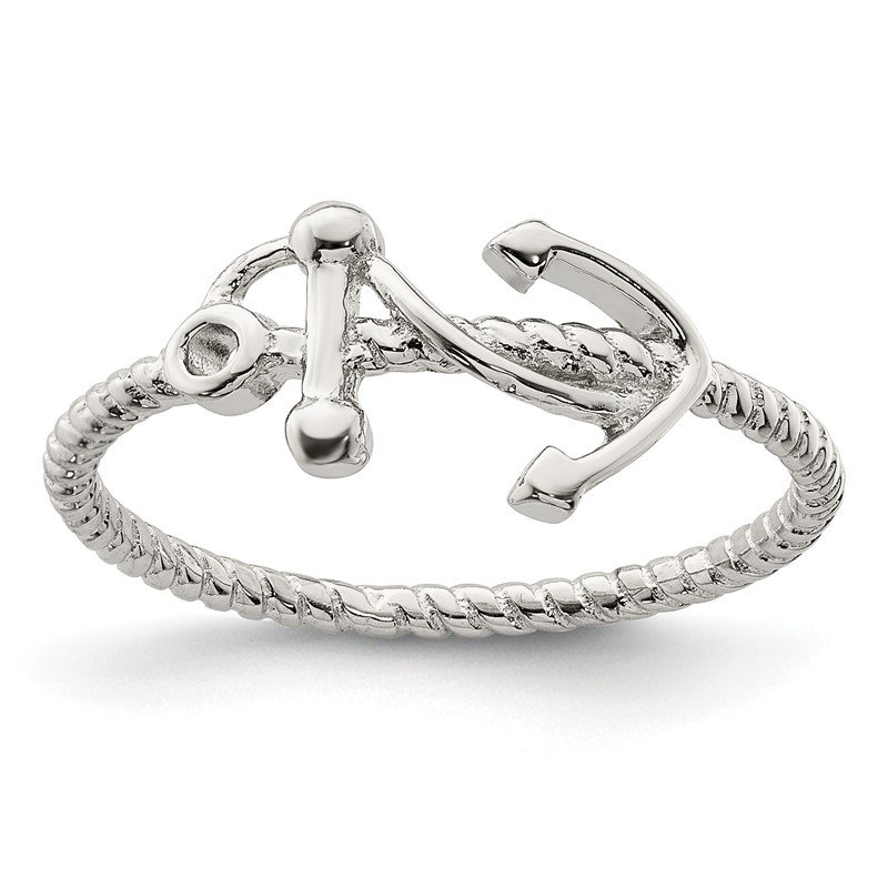 Quality Gold Sterling Silver Rhodium-plated Polished Anchor Ring