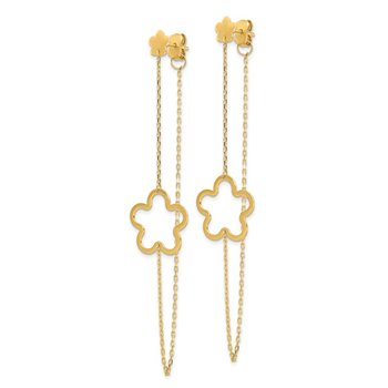 14K Flower Post Dangle Earrings