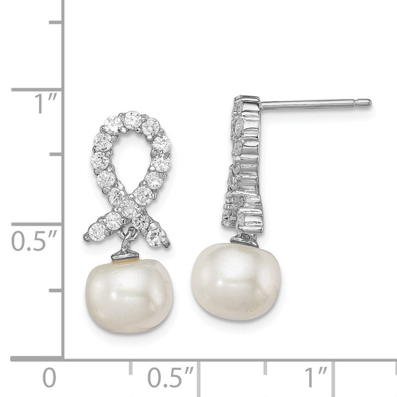 Quality Gold Sterling Silver Rhodium-plated CZ & White FW Cultured Pearl Earrings