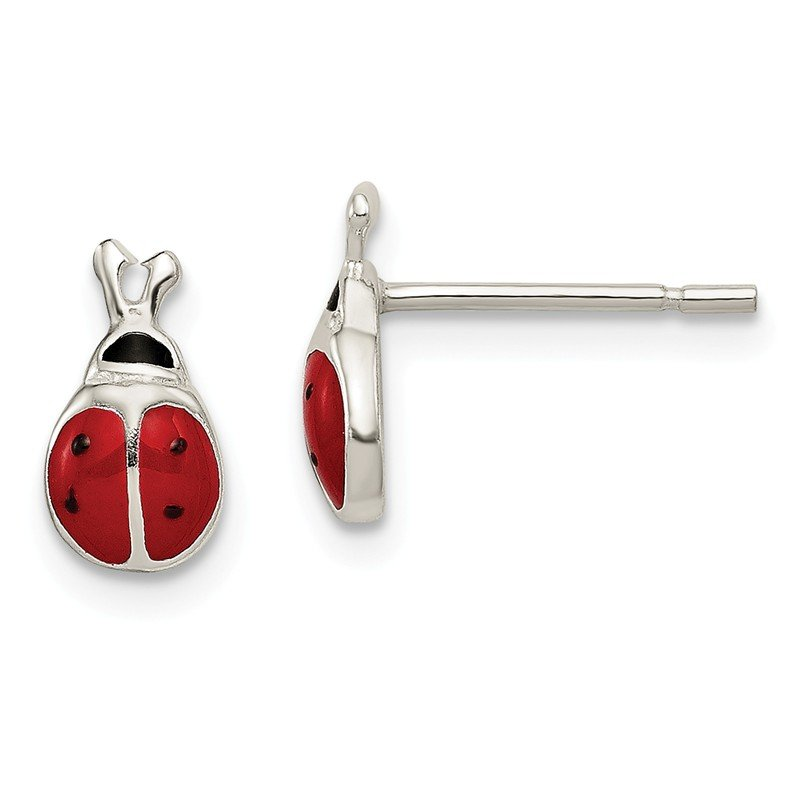 Quality Gold Sterling Silver Enamel Lady Bug Post Earrings