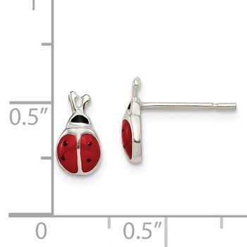 Sterling Silver Enamel Lady Bug Post Earrings