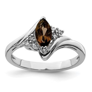 Sterling Silver Rhodium Diam. & Smoky Quartz Ring
