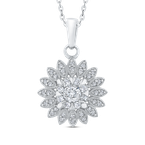 Round Cut Diamond Cluster Pendant