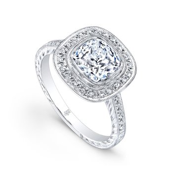 Square Halo DIamond Engagement Semi
