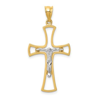 14K Two-tone Polished Crucifix Cross Pendant