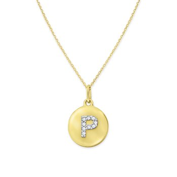 Diamond Uppercase Mini Disc Initial P Necklace