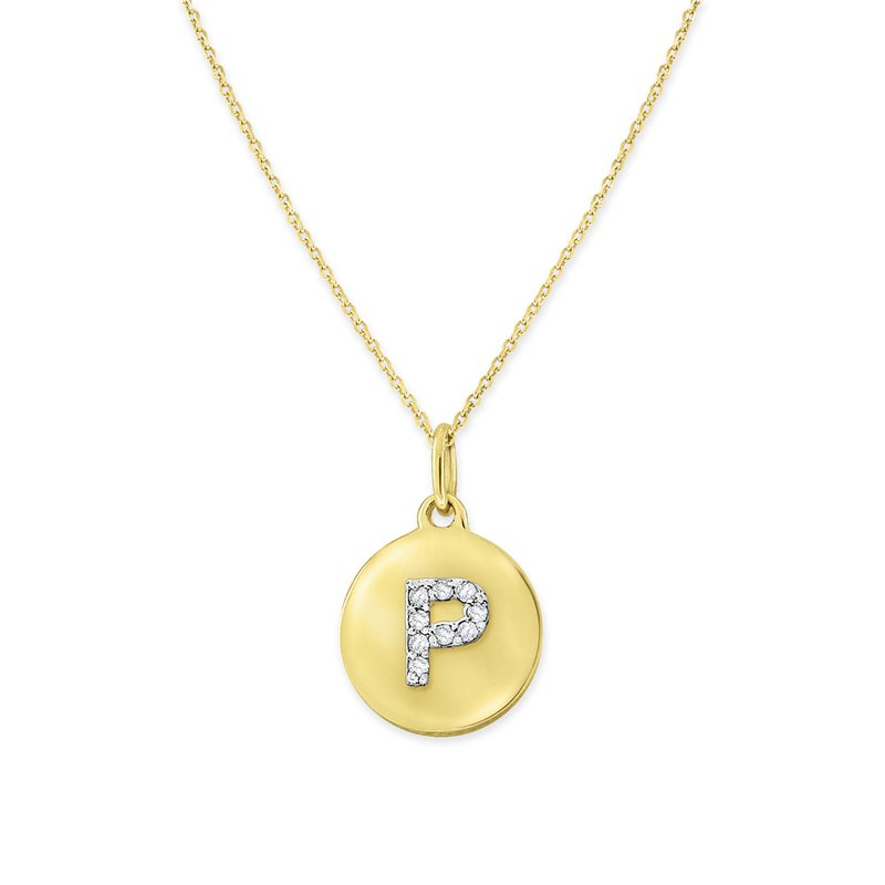 KC Designs Diamond Uppercase Mini Disc Initial P Necklace