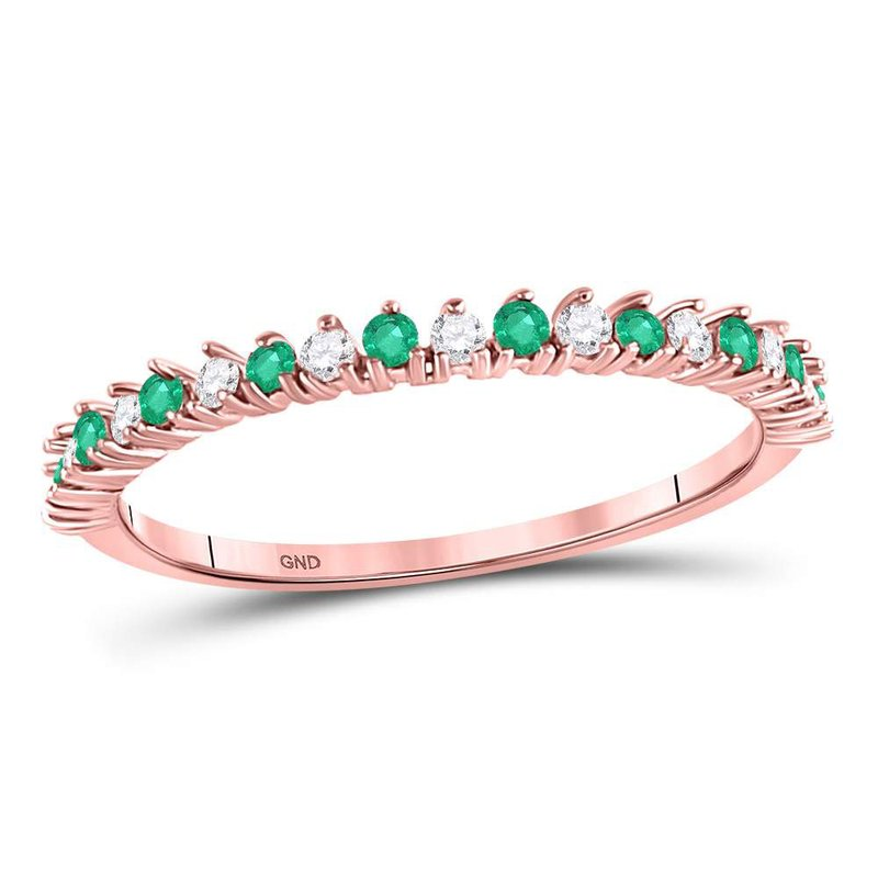 Gold-N-Diamonds, Inc. (Atlanta) 10kt Rose Gold Womens Round Emerald Diamond Single Row Stackable Band Ring 1/5 Cttw