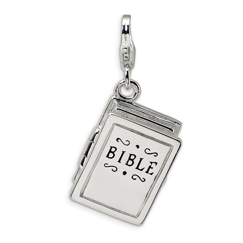 Quality Gold SS RH 3-D Enameled Bible w/Lobster Clasp Charm