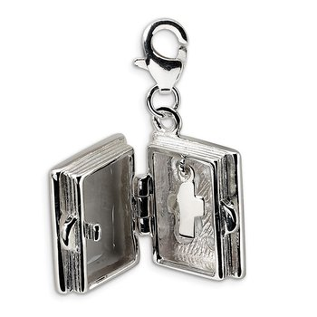 Sterling Silver Amore La Vita Rhodium-plated 3-D Enameled Bible Charm