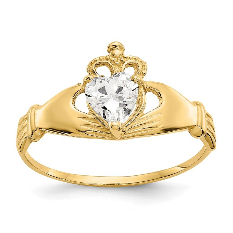 Quality Gold 14k CZ April Birthstone Claddagh Heart Ring