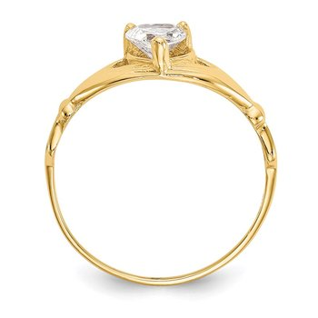 14k CZ April Birthstone Claddagh Heart Ring