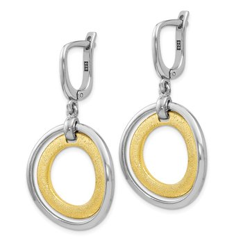Leslie's Sterling Silver Gold-tone Flash 24k Plated Earrings
