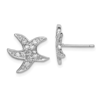 Sterling Silver Rhodium-plated CZ Starfish Earrings