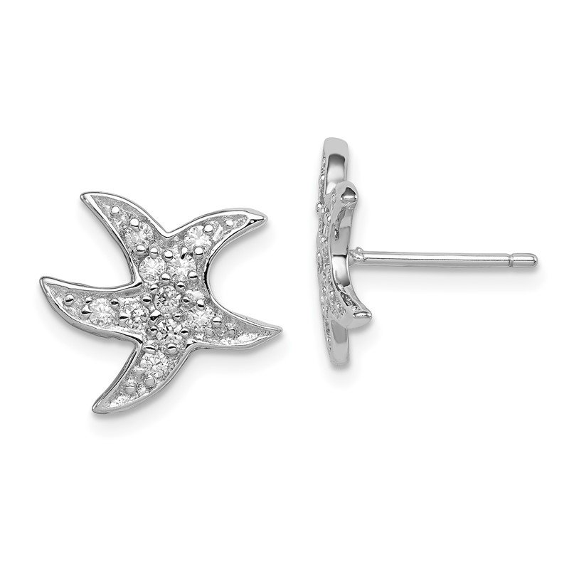 Quality Gold Sterling Silver Rhodium-plated CZ Starfish Earrings