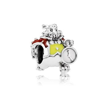 Disney, White Rabbit, Red Yellow Enamel