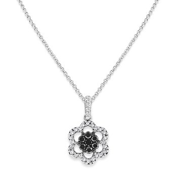 Black And White Diamond Flower Necklace in 14k White Gold with 36 Diamonds weighing .32ct tw