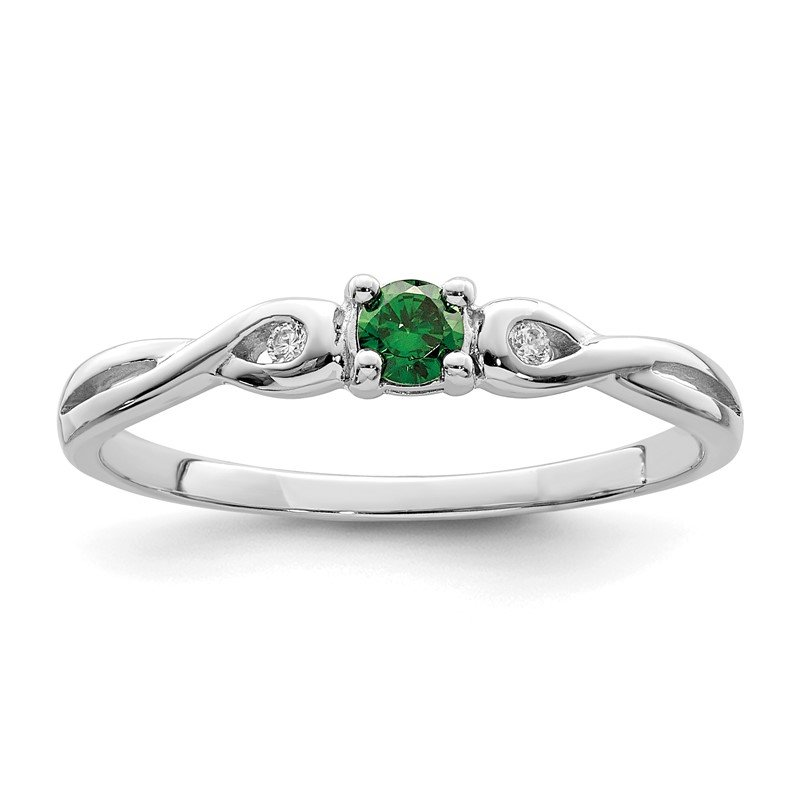 Quality Gold Sterling Silver Rhodium-plated Green & White CZ Ring